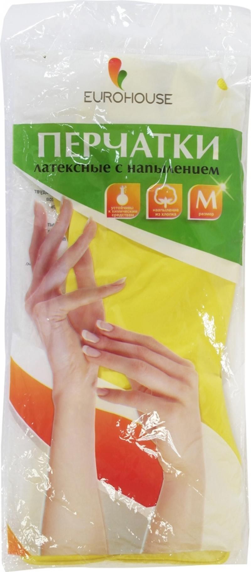 Перчатки хозяйственные EURO HOUSE, латексные, х/б напыление, M перчатки латексные русский инструмент 67724 х б 13 класс