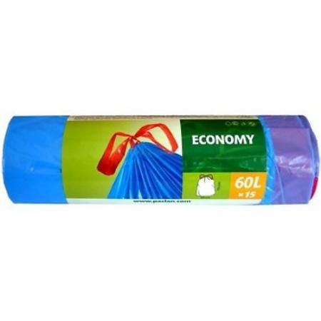 PACLAN Мешки для мусора с завязками ЭКОНОМ 60л 15шт мешки для мусора politan мешки для мусора 60л
