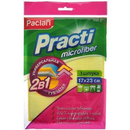 PACLAN Салфетка для уборки губчатая Practi Micro 17х23см 1шт тряпка для уборки paclan универсальная салфетка beesmart paclan 30×30 см микрофибра