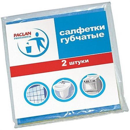 PACLAN Салфетка для уборки губчатая 18х18см 2шт тряпка для уборки paclan универсальная салфетка beesmart paclan 30×30 см микрофибра