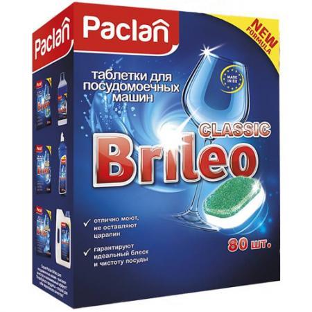 Paclan Brileo Таблетки для посудомоечных машин CLASSIC 80 шт очиститель для посудомоечных машин 250мл paclan brileo 1268100