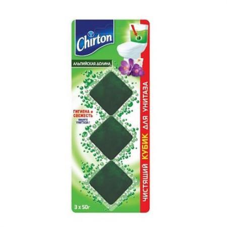 CHIRTON Чистящий кубик для унитаза Альпийская долина 3*50г чистящее средство для унитаза bref сила актив с хлор компонентом 50г