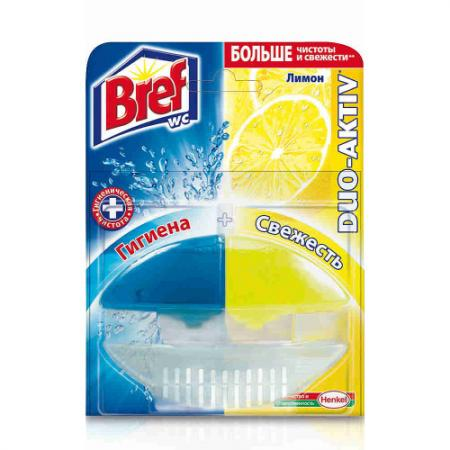 BREF Дуо-Актив Блок туалетный жидкий Лимон 50мл оригинал подвеска д унитаза bref сила актив лимон 2х50г