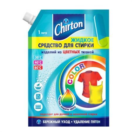 CHIRTON Жидкость для стирки цветных тканей 1000мл жидкость д стирки ласка магия бальзама шерсть и шелк 1000мл скидка 20 8шт 2093842