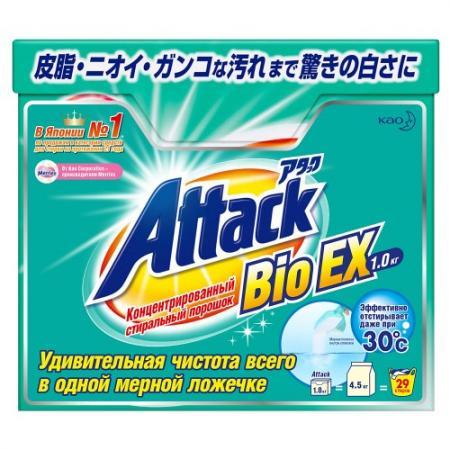ATTACK BioEX Концентрированный универсальный стиральный порошок 1 кг стиральный порошок top house концентрированный суперэффективный автомат 1 кг 804059