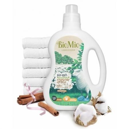 BioMio Экологичный кондиционер для белья Bio-Soft концентрат с эфирным маслом корицы и экстрактом хл biomio с экстрактом хлопка 1 5 л