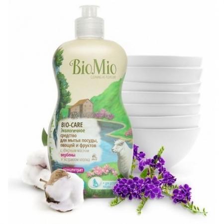Фото BioMio Концентрат экологичный для мытья посуды, овощей и фруктов Bio-Care с эфирным маслом вербены,