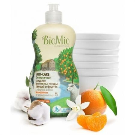 BioMio Концентрат экологичный для мытья посуды, овощей и фруктов Bio-Care с эфирным маслом мандарина косметика для мамы la cigale мыло твердое cigale bio с эфирным маслом лаванды 100 г