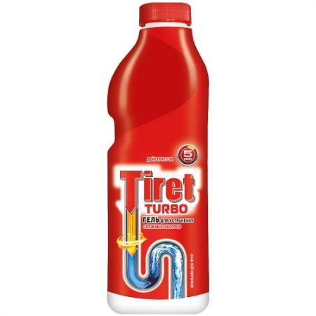 TIRET TURBO Гель для удаления засоров в канализационных трубах 1л гель для удаления засоров tiret professional 500 мл