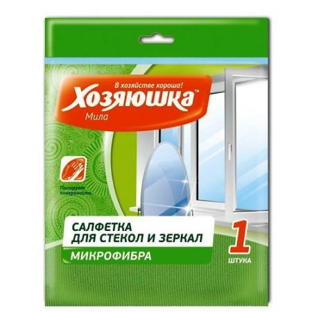 ХОЗЯЮШКА Мила Салфетка для стекла и зеркал микрофибра 30*30см 1 шт КС-05 салфетка sonax для салона и стекла цвет зеленый 2 шт