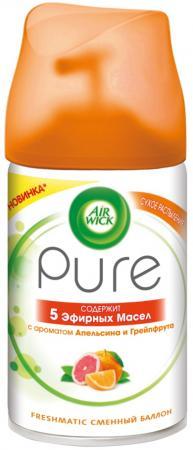 Air Wick PURE 5 Эфирных Масел Сменный баллон к автом.осв.возд. Апельсина и Грейпфрута 250 мл сменный баллон 5 эфирных масел цветущий лимон pure airwick 250 мл