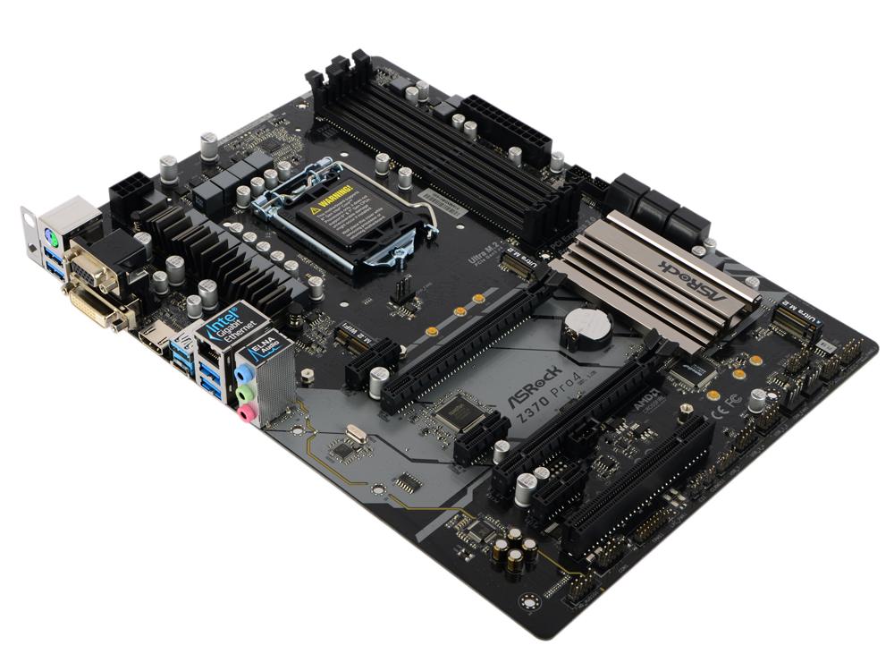Материнская плата ASRock Z370 PRO4 (S1151, iZ370, 4*DDR4, 2*PCIe 3.0x16, 3*PCIe 3.0x1 , 1*PCI, SATA3, HDMI, DVI, VGA, PS/2, USB3.1, ATX, Retail)
