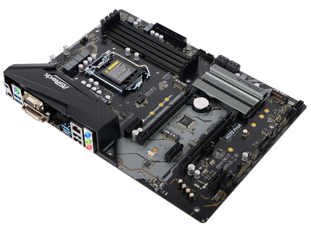 Материнская плата ASRock H370 PRO4 (S1151, iH370, 4*DDR4, 2*PCI-E16x, 3*PCI-E1x, D-Sub, DVI, HDMI, SATA III+RAID, M.2, GB Lan, USB3.0, ATX, Retail) asus h110i plus socket 1151 h110 2xddr4 1xpci e16x 4xsata3 d sub dvi hdmi 4xusb3 0 com d sub dvi hdmi glan mini itx ret