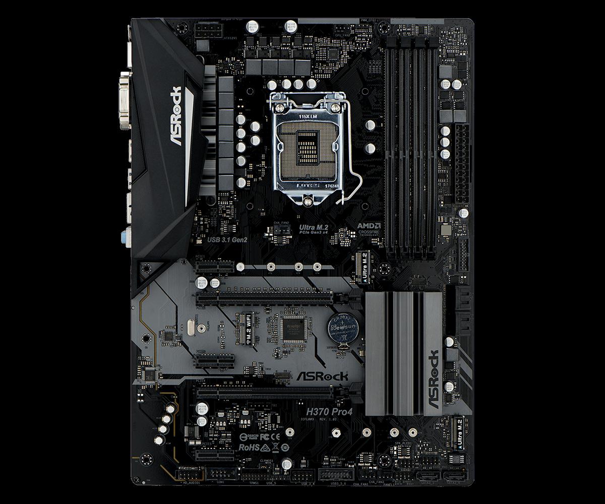 Материнская плата ASRock H370 PRO4 (S1151, iH370, 4*DDR4, 2*PCI-E16x, 3*PCI-E1x, D-Sub, DVI, HDMI, SATA III+RAID, M.2, GB Lan, USB3.0, ATX, Retail) материнская плата для пк eip atx q67 4 pci q67 i3 i5 i7 4 pci 10com kh q67dm
