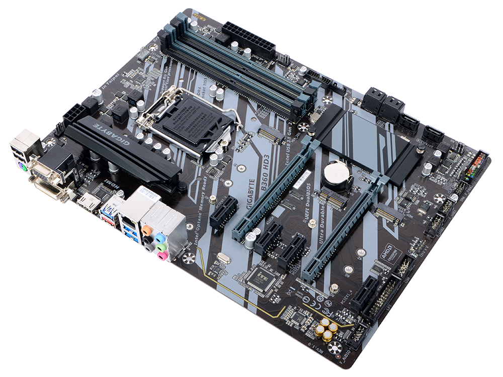 Материнская плата GIGABYTE B360 HD3 (S1151, B360, 4xDDR4, 2xPCI-Ex16, 4xPCI-Ex1, D-Sub, DVI, HDMI, SATA III, M.2, GB Lan, USB 3.1, ATX, Retail) материнская плата asus tuf b360 pro gaming wi fi b360 socket 1151v2 4xddr4 6xsata3 2xm 2 2xpci e16x 2xusb3 1 1xusb3 1 type c d sub hdmi 802 11ac glan atx
