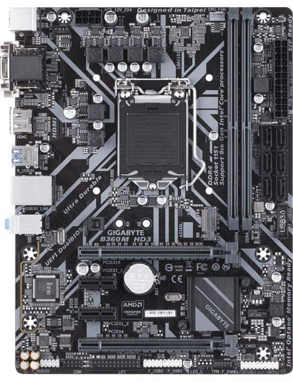 Материнская плата GIGABYTE B360M HD3 (S1151, B360, 2xDDR4, 2xPCI-Ex16, 2xPCI-Ex1, D-Sub, DVI, HDMI, SATA III, M.2, GB Lan, USB 3.1, mATX, Retail) asus h110i plus socket 1151 h110 2xddr4 1xpci e16x 4xsata3 d sub dvi hdmi 4xusb3 0 com d sub dvi hdmi glan mini itx ret