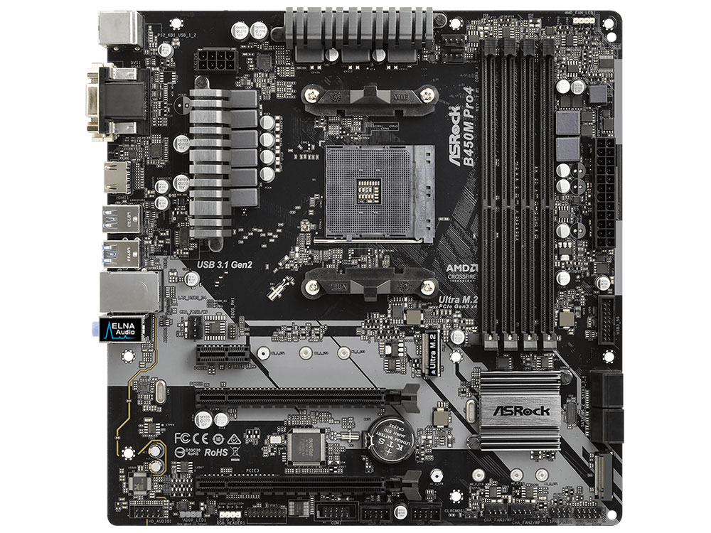 Материнская плата ASRock B450M PRO4 (SAM4, AMD B450, 4xDDR4, 2xPCI-Ex16, PCI-Ex1, D-SUB, HDMI, DVI, SATAIII+RAID, M.2, GB Lan, USB3.1, mATX, Retail) материнская плата asrock b450m pro4