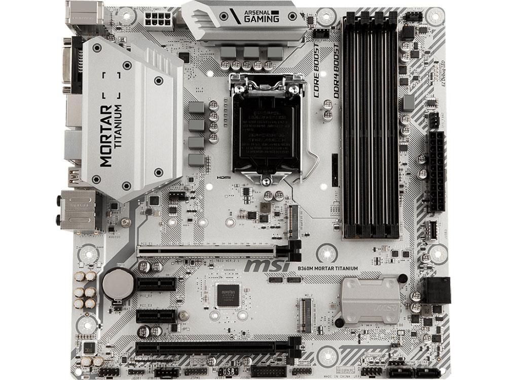 Материнская плата MSI B360M MORTAR TITANIUM (S1151, B360, 4xDDR4 DIMM, 2xPCI-Ex16, 2xPCI-Ex1, DP, DVI, HDMI, SATA III, M.2, GB Lan, USB3.1, mATX, Retail) материнская плата gigabyte b360m ds3h b360 socket 1151v2 4xddr4 6xsata3 1xm 2 1xpci e16x 4xusb3 1 d sub dvi d hdmi glan matx