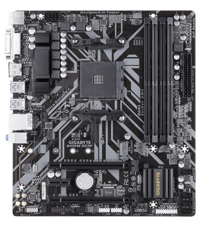 Материнская плата GIGABYTE B450M DS3H (AM4, AMD B450, 4xDDR4, 2xPCI-Ex16, PCI-Ex1, DVI, HDMI, SATA III+RAID, GB Lan, M.2, USB 3.1, mATX, Retail) gigabyte b360m ds3h