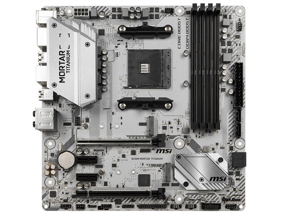купить Материнская плата MSI B450M MORTAR TITANIUM AM4, AMD B450, 4xDDR4, 2xPCI-Ex16, 2xPCI-Ex1, DP, HDMI, SATAIII+RAID, M.2, GBLan, USB 3.1, mATX, Retail дешево