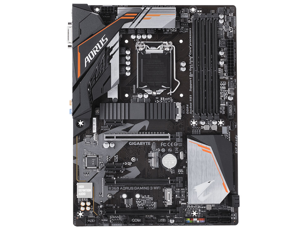 Материнская плата GIGABYTE B360 AORUS GAMING 3 WIFI (S1151, B360, 4xDDR4, 3xPCI-Ex16, 2xPCI-Ex1, DVI, HDMI, SATA III, M.2, GB Lan, USB 3.1, ATX, Retail)