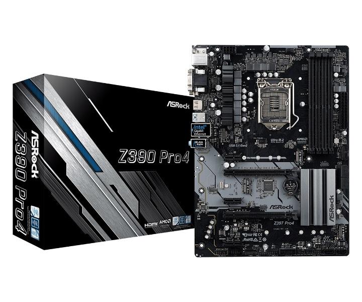цена Материнская плата ASRock Z390 PRO4 S1151v2, Z390, 4xDDR4, 2xPCI-Ex16, 3xPCI-Ex1, D-Sub, DVI, HDMI, SATAIII+RAID, M.2, GB Lan, USB3.1, ATX, Retail