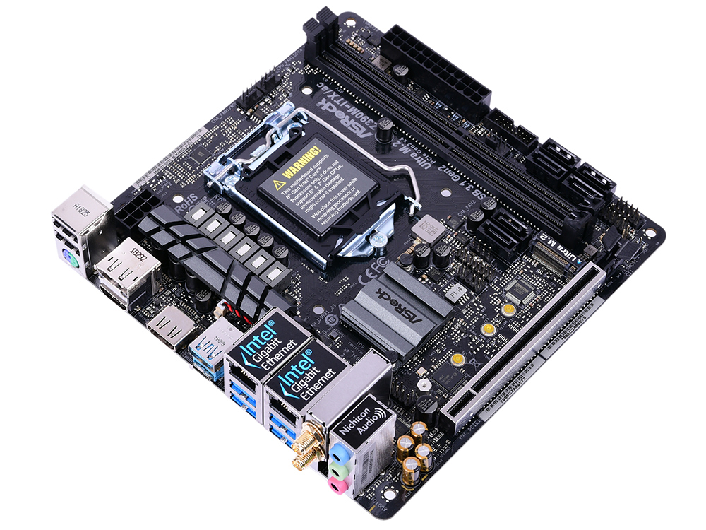 Материнская плата ASRock Z390M-ITX/AC S1151v2, Z390, 2xDDR4, PCI-Ex16, DP, HDMI, SATAIII+RAID, M.2, 2xGB Lan, WiFi+Bt, USB3.1, mini-ITX, Retail цена и фото