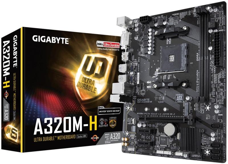 Материнская плата GIGABYTE GA-A320M-H AM4, AMD А320, 2*DDR4, 1*PCI-E16x, DVI, HDMI, SATAIII+RIAD, USB 3.1, mATX, Retail цена