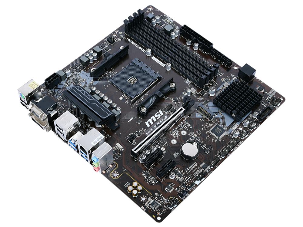 Материнская плата MSI B450M PRO-VDH PLUS AM4, AMD B450, 4xDDR4, PCI-Ex16, 2xPCI-Ex1, DVI, HDMI, SATAIII+RAID, M.2, GBLan, USB 3.1, mATX, Retail