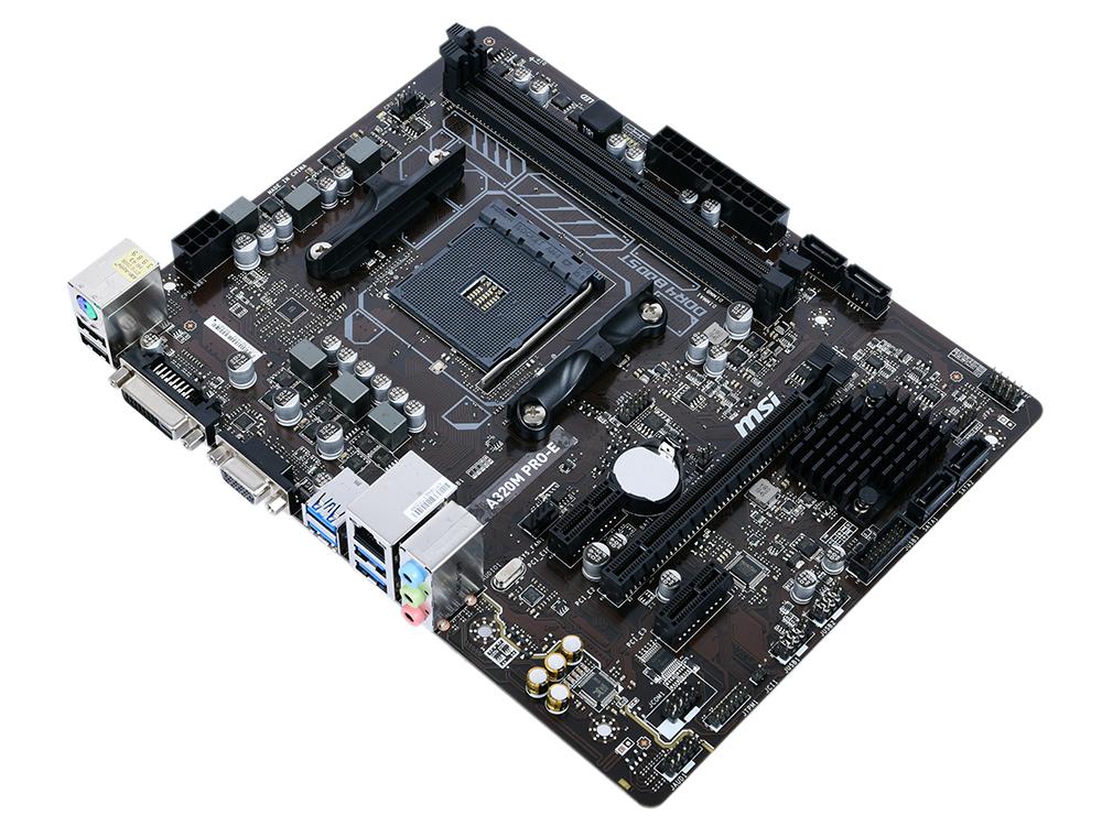 Материнская плата MSI A320M PRO-E AM4, AMD A320, 2xDDR4, PCI-Ex16, 2xPCI-Ex1, DVI, VGA, SATAIII+RAID, GBLan, USB 3.1, mATX, Retail