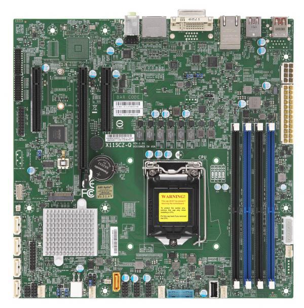 Материнская плата SuperMicro X11SCZ Q Intel Core i7/i5/i3 CPU, 1x H4 (LGA 1151), 2 RJ45 Gb LAN ports, 4x COM ports, 1 PCI E 3.0 x16, 2 PCI E 3.0 x4 (in x8 slot), Intel Q370 controller for 5 SATA3 (6 Gbps) ports; RAID 0,1,5,10.