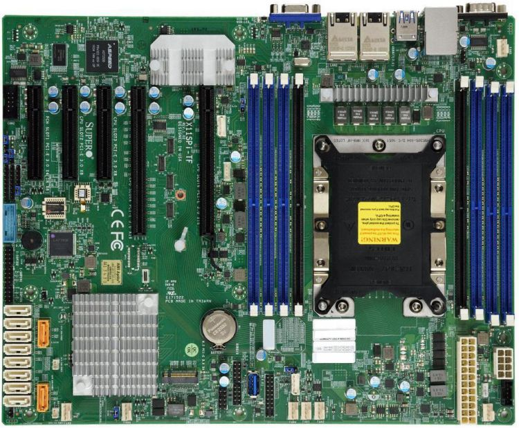Материнская плата SuperMicro MBD X11SPI TF B Xeon Single Socket S3647 8x 288 pin DDR4 DIMM slots, 2x 10GbE LAN ports, 10x SATA3 (6Gbps) via C622