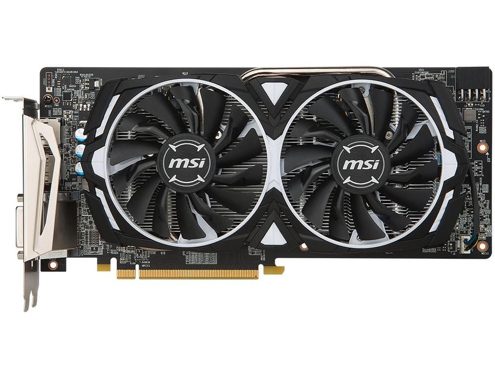 Видеокарта MSI Radeon RX 580 ARMOR 8G 8Gb 1340 MHz AMD RX 580/GDDR5 8000Mhz/256bit/PCI-E 16x/2xDP, 2xHDMI, DVI видеокарта msi radeon rx vega 56 rx vega 56 air boost 8g oc pci e 8192mb 2048 bit retail