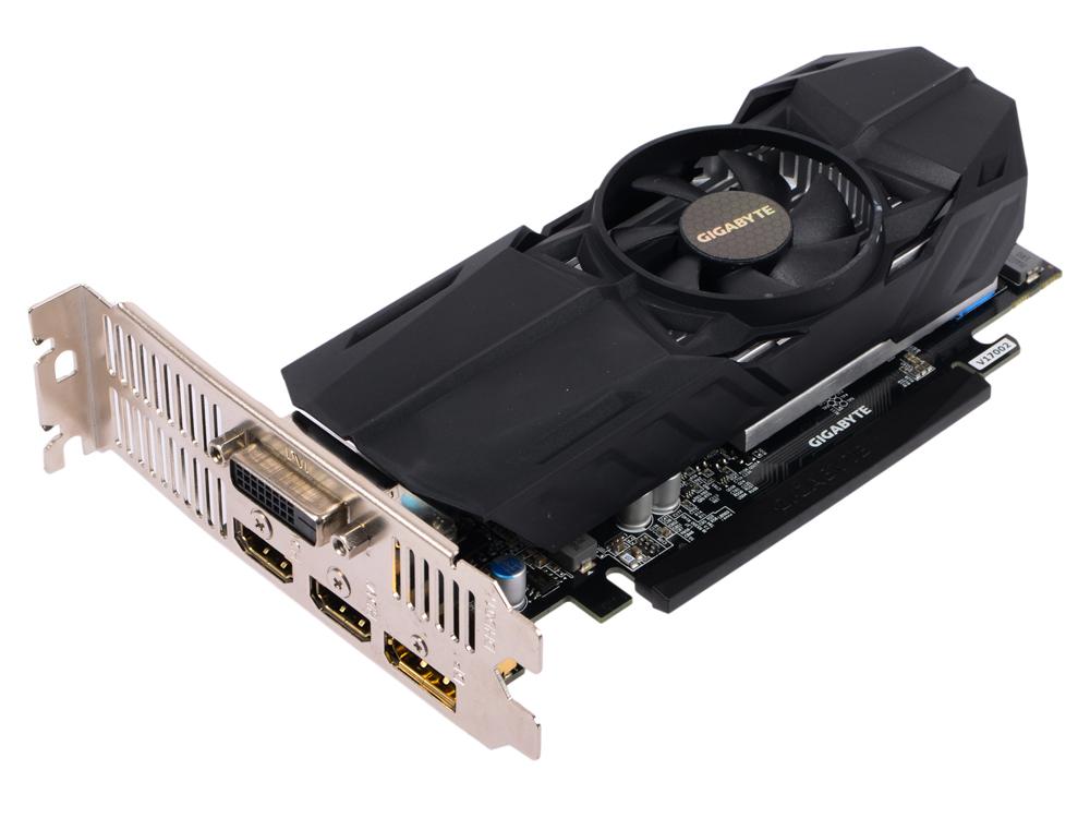 Видеокарта 2Gb PCI-E GIGABYTE GeForce GTX 1050 Low Profile 2G GV-N1050-2GL GTX1050, GDDR5, 128 bit, DVI, 2xHDMI, DP, Retail видеокарта gigabyte geforce gt 730 gv n730d5 2gl pci e 2048mb 64 bit retail