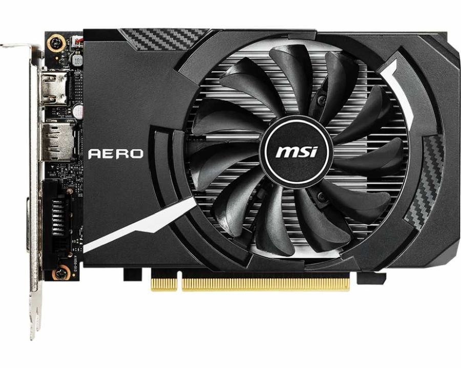 Видеокарта MSI GeForce GTX 1650 AERO ITX 4G OC 4Gb 0 MHz NVIDIA GTX 1650/GDDR5 8000Mhz/128bit/PCI-E 16x/DP, HDMI, DVI-D asus geforce gtx 650 1gb 128bit gddr5 video graphics cards for nvidia geforce gtx650 hdmi dvi used vga cards desktop pc