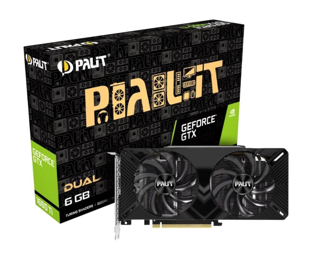 Видеокарта Palit GeForce GTX 1660 Ti PA-GTX1660Ti DUAL 6G 6Gb 1500 MHz NVIDIA GTX 1660 Ti/GDDR6 12002Mhz/192bit/PCI-E 16x/DP, HDMI, DVI цена и фото