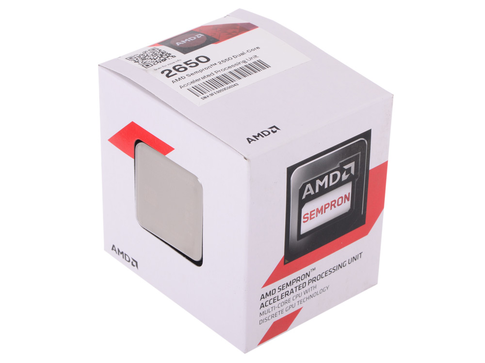 Процессор AMD Sempron 2650 BOX 25W, 2core, 1.45Gh(Max), 1MB(L2-1MB), Kabini, AM1 (SD2650JAHMBOX) цена 2017