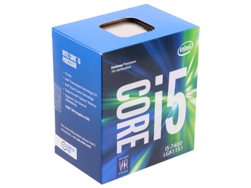 цена на Процессор Intel Core i5-7400 BOX TPD 65W, 4/4, Base 3.0GHz - Turbo 3.5 GHz, 6Mb, LGA1151 (Kaby Lake)