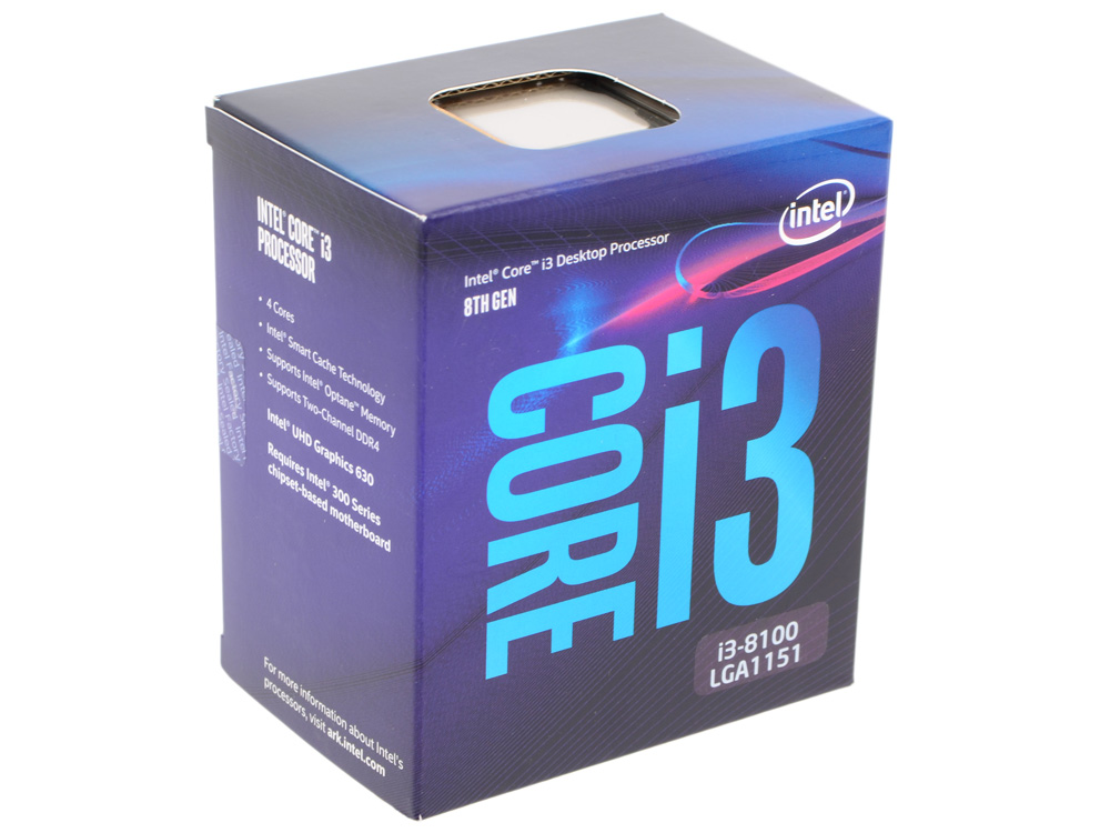Процессор Intel Core i3-8100 BOX TPD 65W, 4/4, Base 3.6GHz, 6Mb, LGA1151 (Coffee Lake) цена и фото