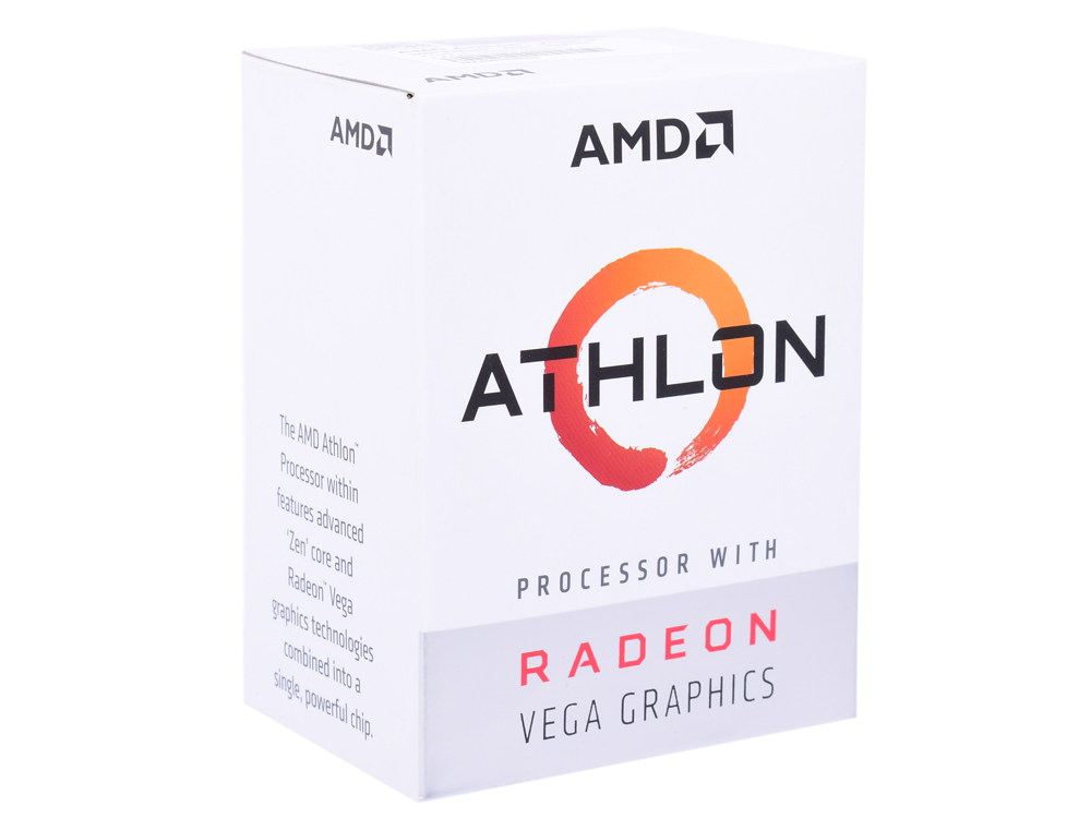 лучшая цена Процессор AMD Athlon 200GE BOX Radeon Vega Graphics 35W, 2C/4T, 3.2Gh(Max), 5MB(L2+L3), AM4 (YD200GC6FBBOX)