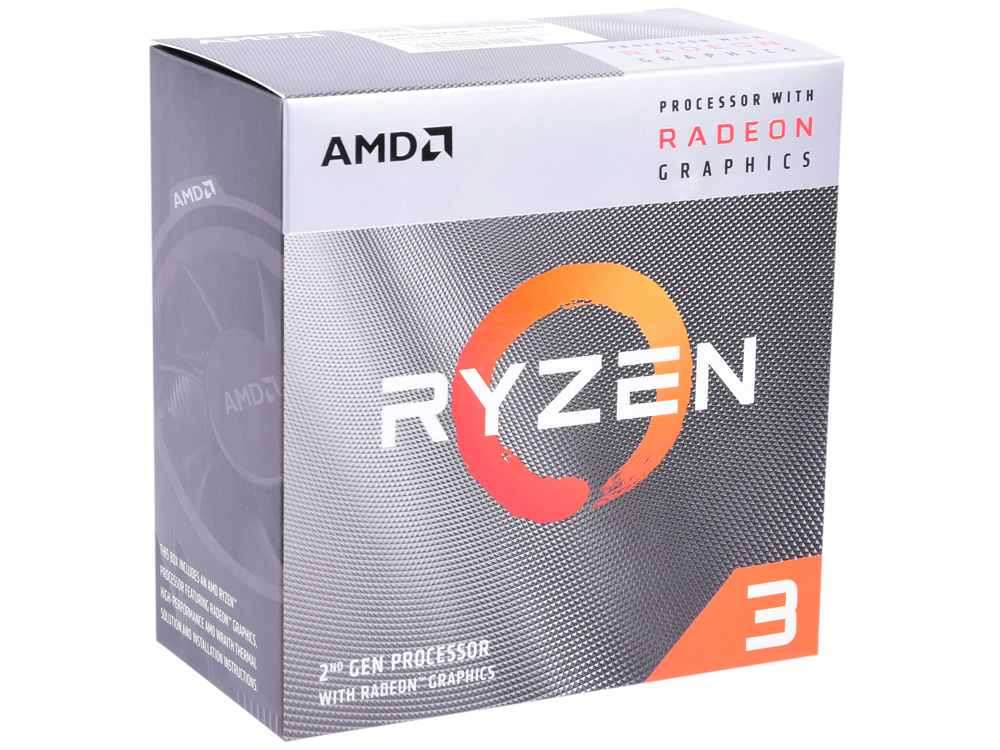 Процессор AMD Ryzen 3 3200G BOX Radeon Wraith Stealth cooler RX Vega 8 Graphics (65W, 4C/4T, 4.0Gh(Max), 6MB(L2+L3), AM4) (YD3200C5FHBOX)