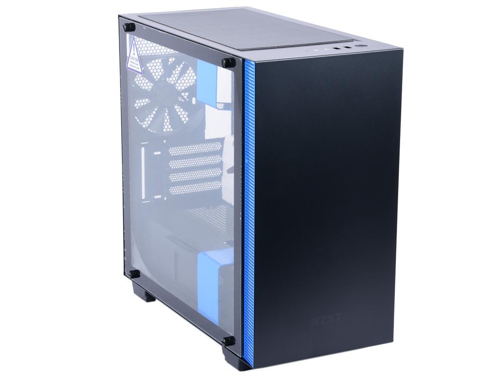 Корпус microATX NZXT H400I Без БП чёрный синий CA-H400W-BL