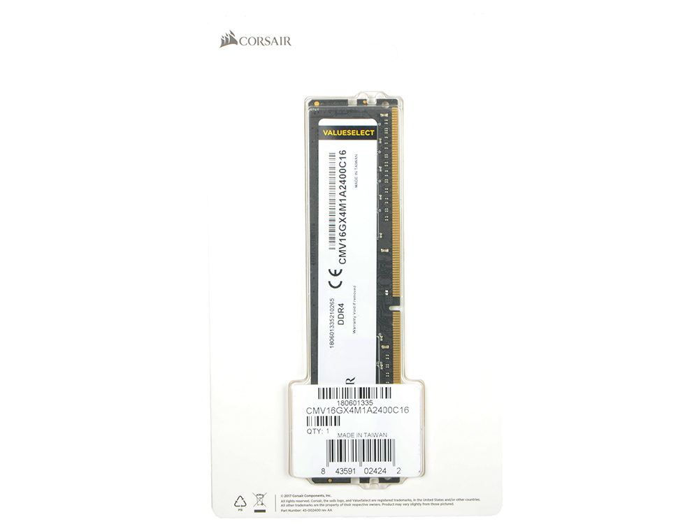 Оперативная память Corsair CMV16GX4M1A2400C16 DIMM 16Gb DDR4 2400MHz DIMM 288-pin/PC-19200/CL16 оперативная память 16gb 2x8gb pc4 19200 2400mhz ddr4 dimm cl16 corsair cmk16gx4m2a2400c16r
