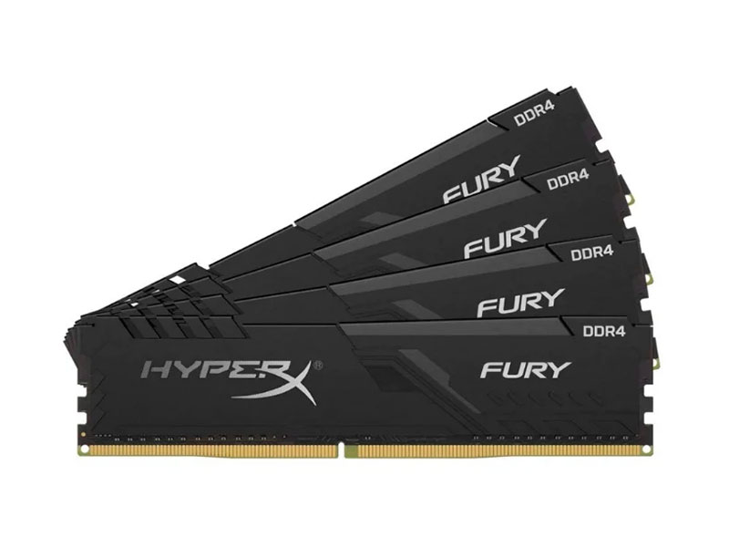 Оперативная память Kingston HyperX FURY Black HX426C16FB3K4/16 DIMM 16GB (Kit of 4) DDR4 2666MHz DIMM 288-pin/PC-21300/CL16 crucial 16gb kit 8gbx2 ddr4 3600mt s cl16 unbuffered dimm 288 pin ballistix black