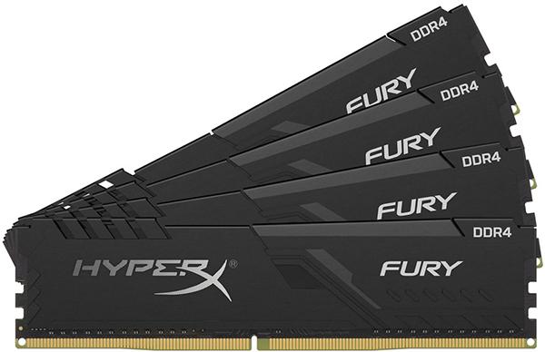 Оперативная память Kingston HyperX Fury Black HX432C16FB3K4/16 DIMM 16GB (4x4Gb) DDR4 3200MHz DIMM 288-pin x 4/PC-25600/CL16 цена