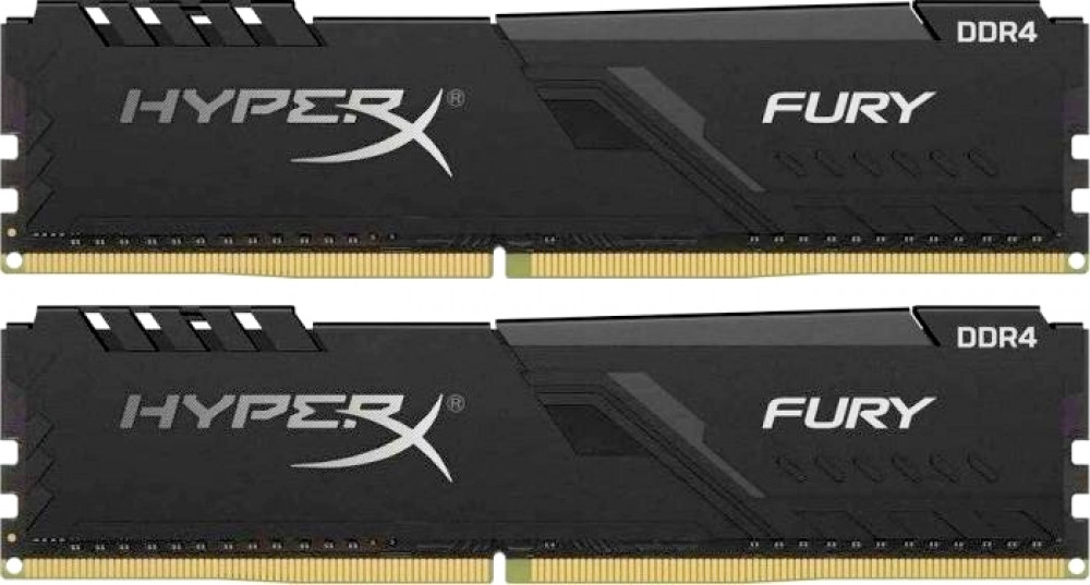 Оперативная память Kingston HyperX Fury Black HX426C16FB3K2/16 DIMM 16GB (2x8GB) DDR4 2666MHz DIMM 288-pin x 2/PC-21300/CL16 crucial 16gb kit 8gbx2 ddr4 3600mt s cl16 unbuffered dimm 288 pin ballistix black