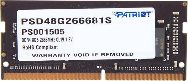 цена на Оперативная память для ноутбуков Patriot Memory PSD48G266681S SO-DIMM 8GB DDR4 2666MHz SO-DIMM 260-pin/PC-21300/CL19