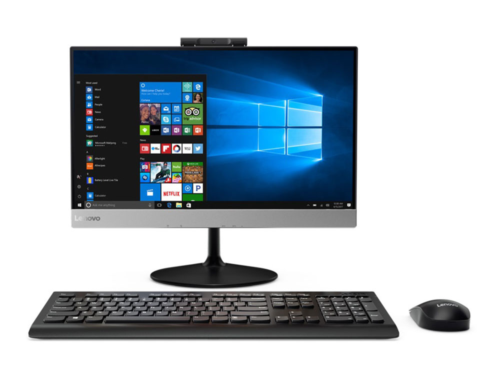 Моноблок Lenovo V410z 10R60004RU i3-7100T/4Gb/500Gb/21.5 FHD AG/DVD-RW/AMD Radeo 530 2Gb/DOS пк lenovo thinkcentre m710 tiny i3 7100t 3400 мгц 8гб 1тб intel hd graphics 630 встроенная нет dvd windows 10 pro 10mr005jru