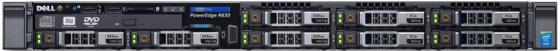 Сервер Dell PowerEdge R630 Base 8x2.5, NO (CPU, Memory, HDD), H730p/2GB NV, DVDRW, 4x1GbE, iDRAC8 Ent, (1)x750W (upto2), Bezel/Rails/CMA, 3y PS NBD