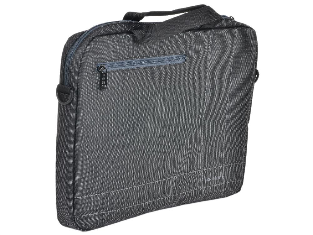 Сумка для ноутбука Continent CC-201GA до 15,6 (серый с серой отделкой, нейлон/полиэстер, 40 x 30 x 5 см.) сумка для ноутбука continent cc 02 до 15 6 нейлон cranberry 41 x 31 x 9 см